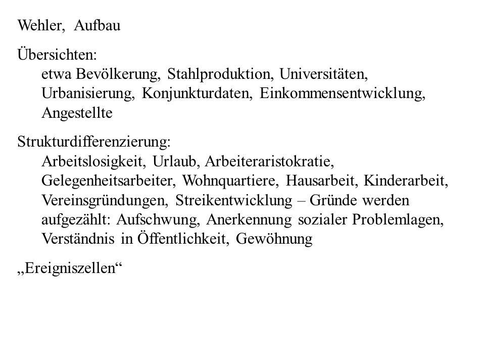 Wehler, Aufbau Übersichten: etwa Bevölkerung, Stahlproduktion, Universitäten, Urbanisierung, Konjunkturdaten, Einkommensentwicklung, Angestellte.