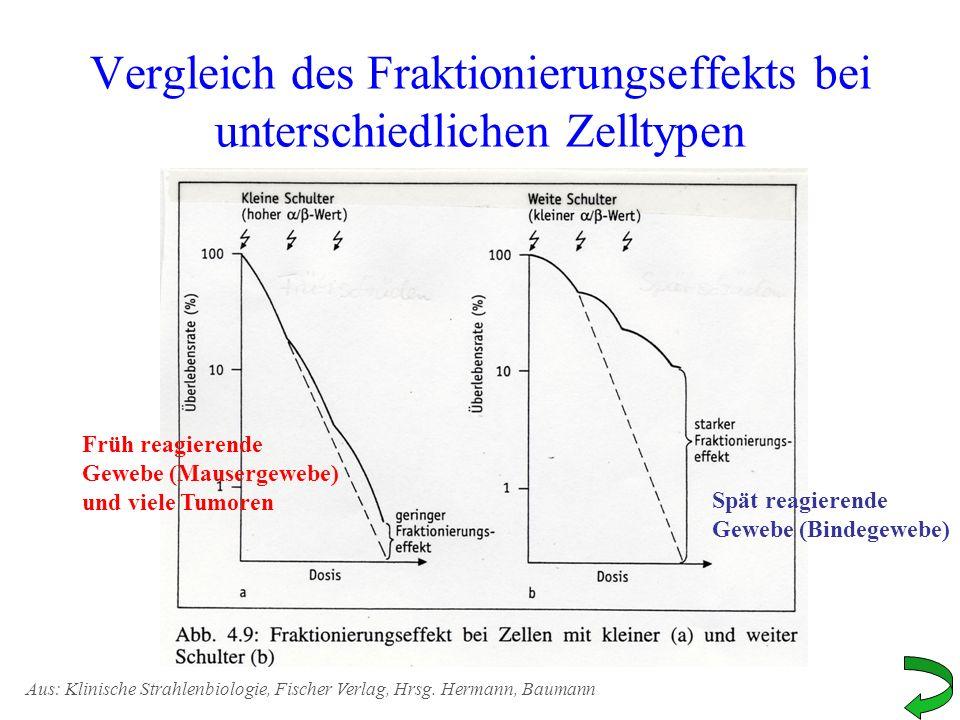 Vergleich des Fraktionierungseffekts bei unterschiedlichen Zelltypen