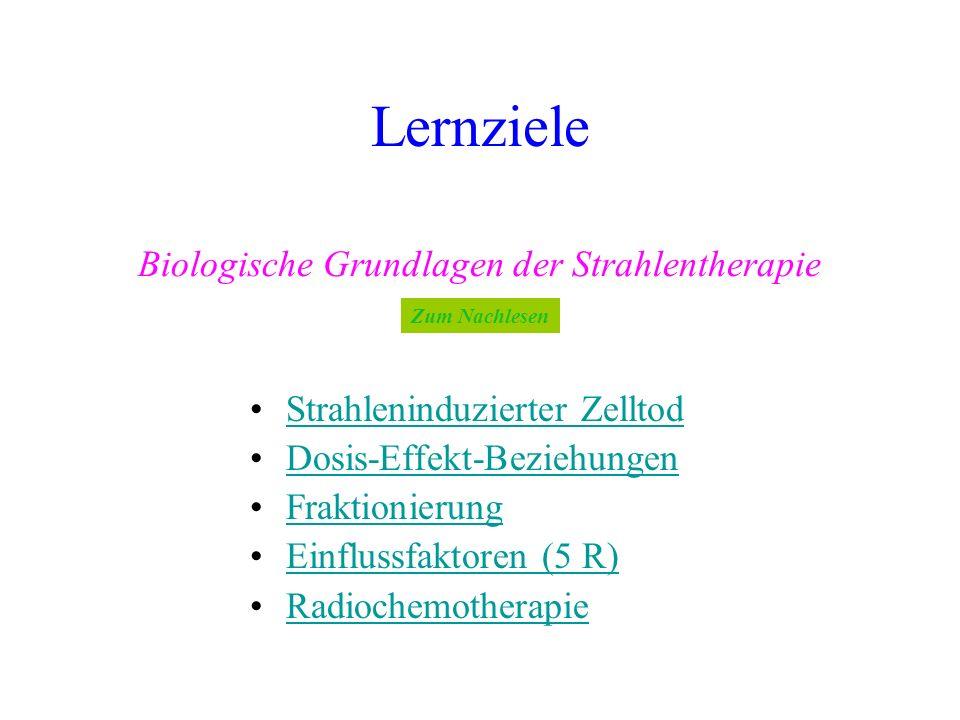 Lernziele Biologische Grundlagen der Strahlentherapie