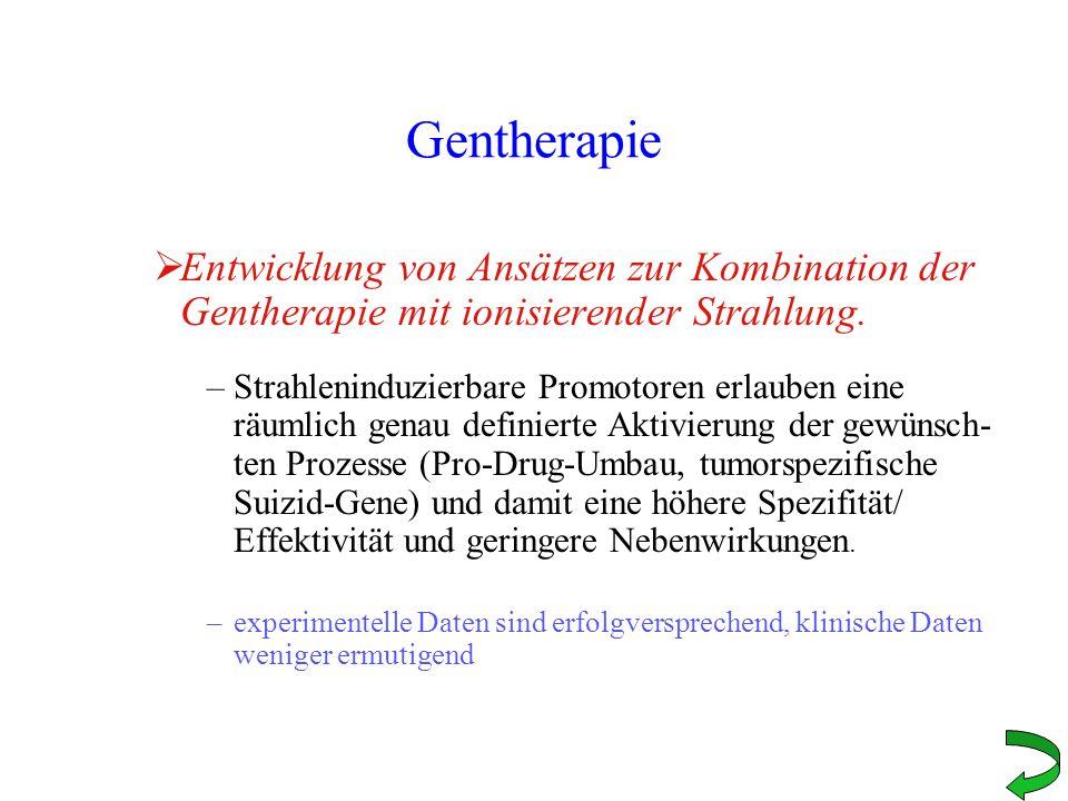 Gentherapie Entwicklung von Ansätzen zur Kombination der Gentherapie mit ionisierender Strahlung.