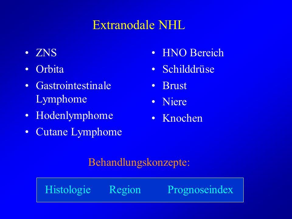 Extranodale NHL ZNS Orbita Gastrointestinale Lymphome Hodenlymphome