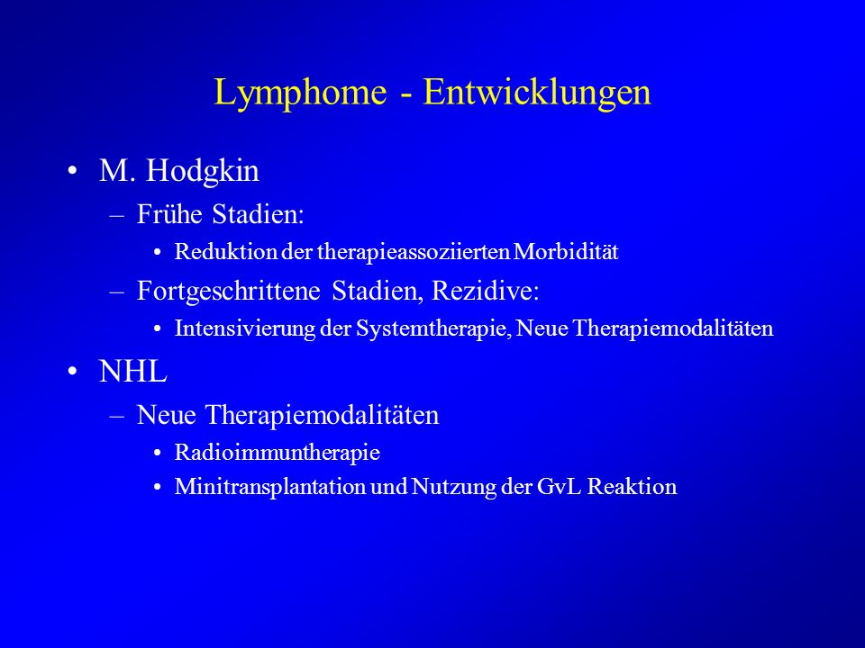 Lymphome - Entwicklungen