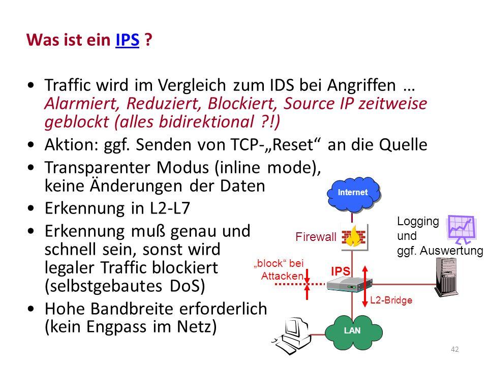 """Aktion: ggf. Senden von TCP-""""Reset an die Quelle"""