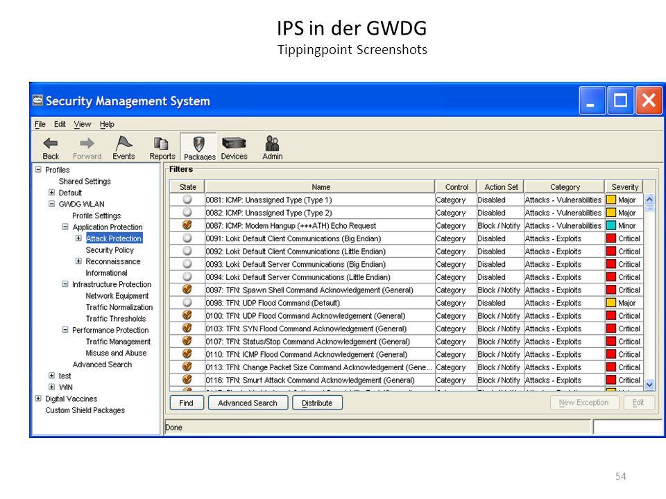 IPS in der GWDG Tippingpoint Screenshots