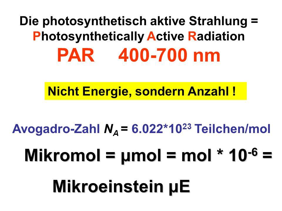 PAR 400-700 nm Mikromol = μmol = mol * 10-6 = Mikroeinstein μE