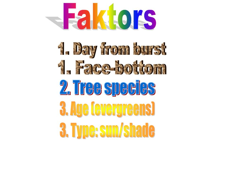 Faktors 1. Day from burst 1. Face-bottom 2. Tree species