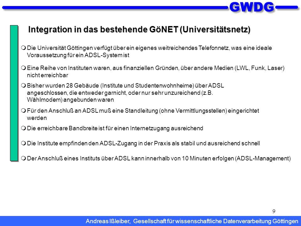 Integration in das bestehende GöNET (Universitätsnetz)