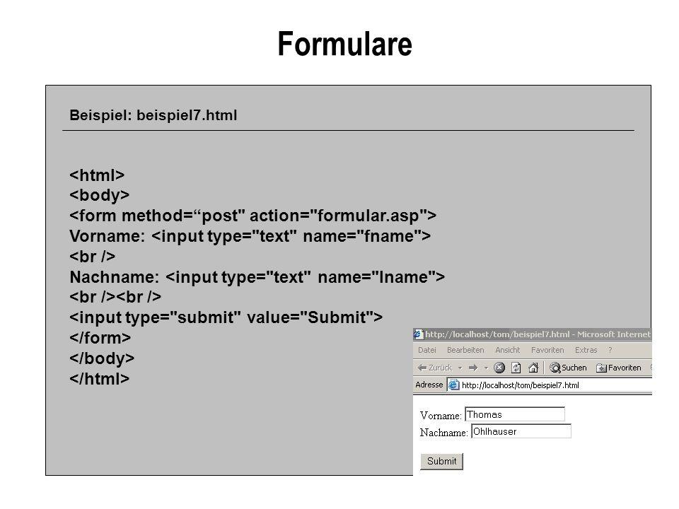 Formulare <html> <body>