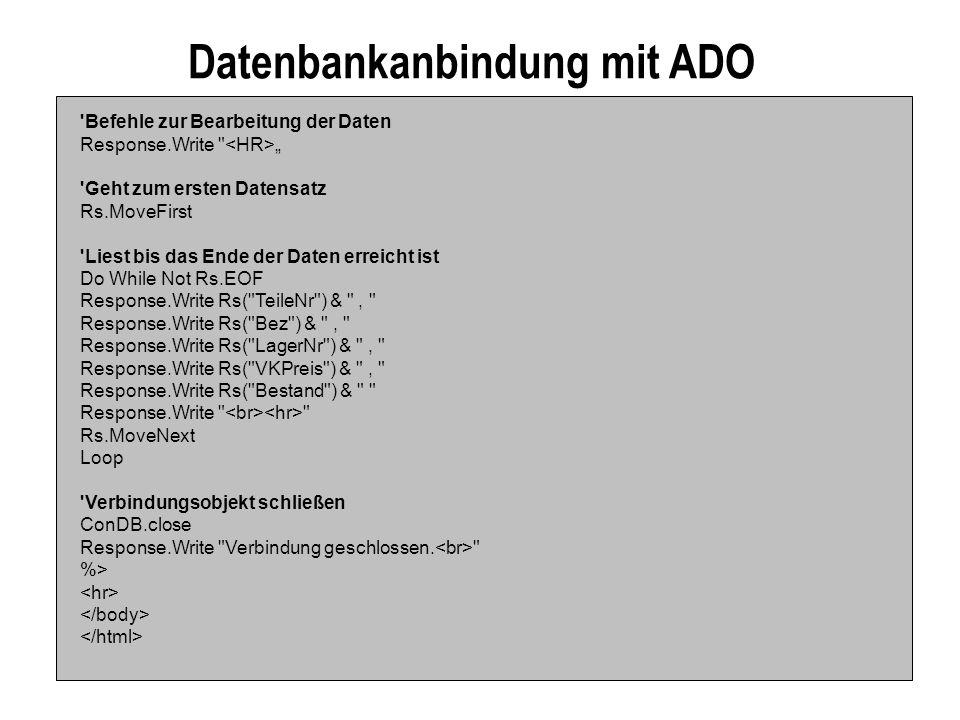 Datenbankanbindung mit ADO