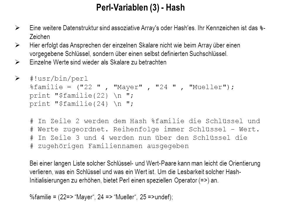 Perl-Variablen (3) - Hash