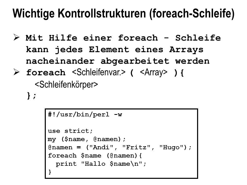 Wichtige Kontrollstrukturen (foreach-Schleife)