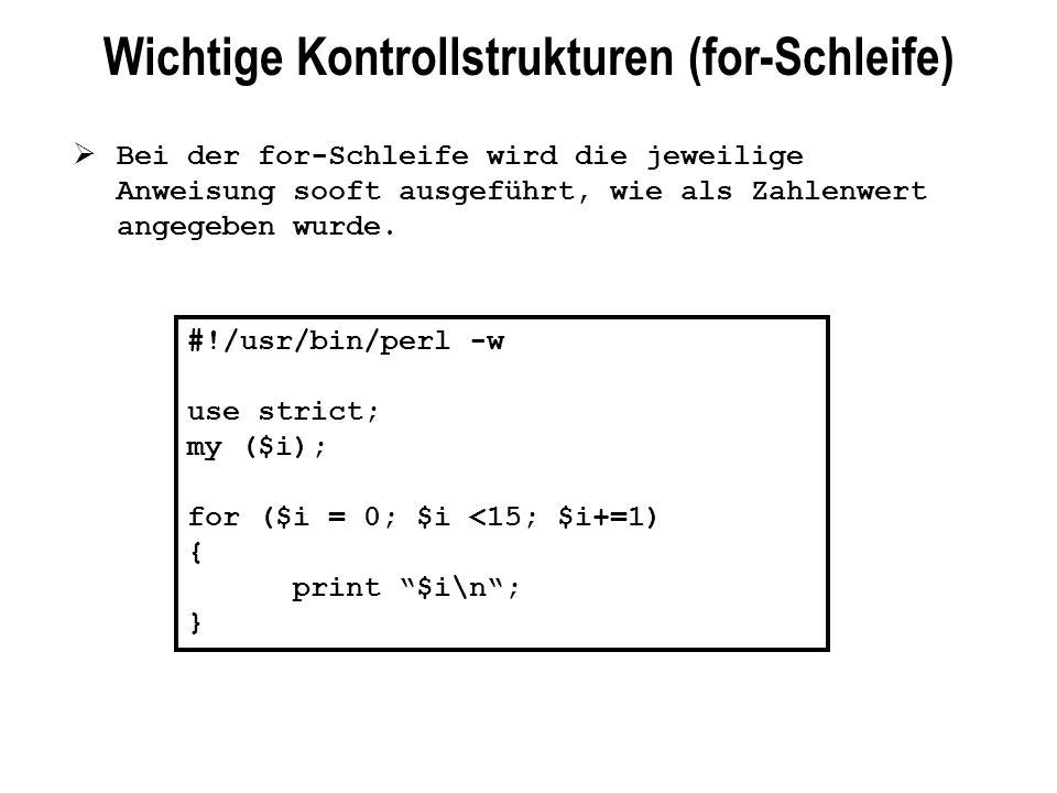 Wichtige Kontrollstrukturen (for-Schleife)