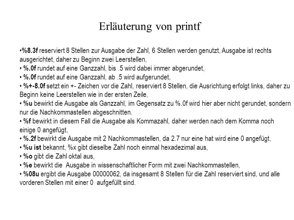 Erläuterung von printf