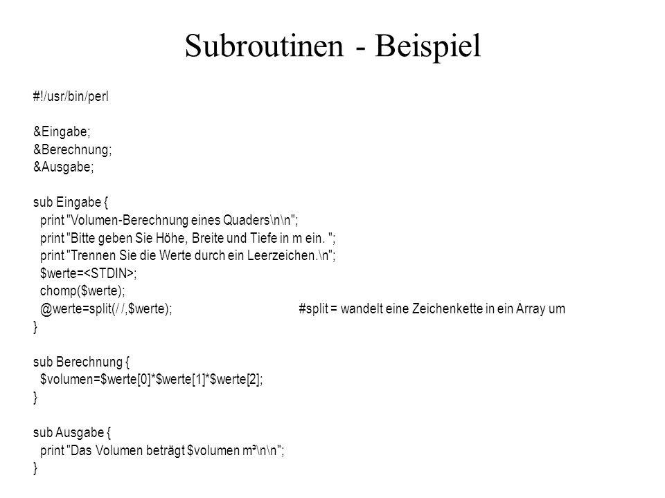 Subroutinen - Beispiel