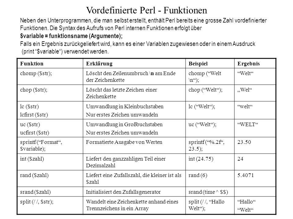 Vordefinierte Perl - Funktionen