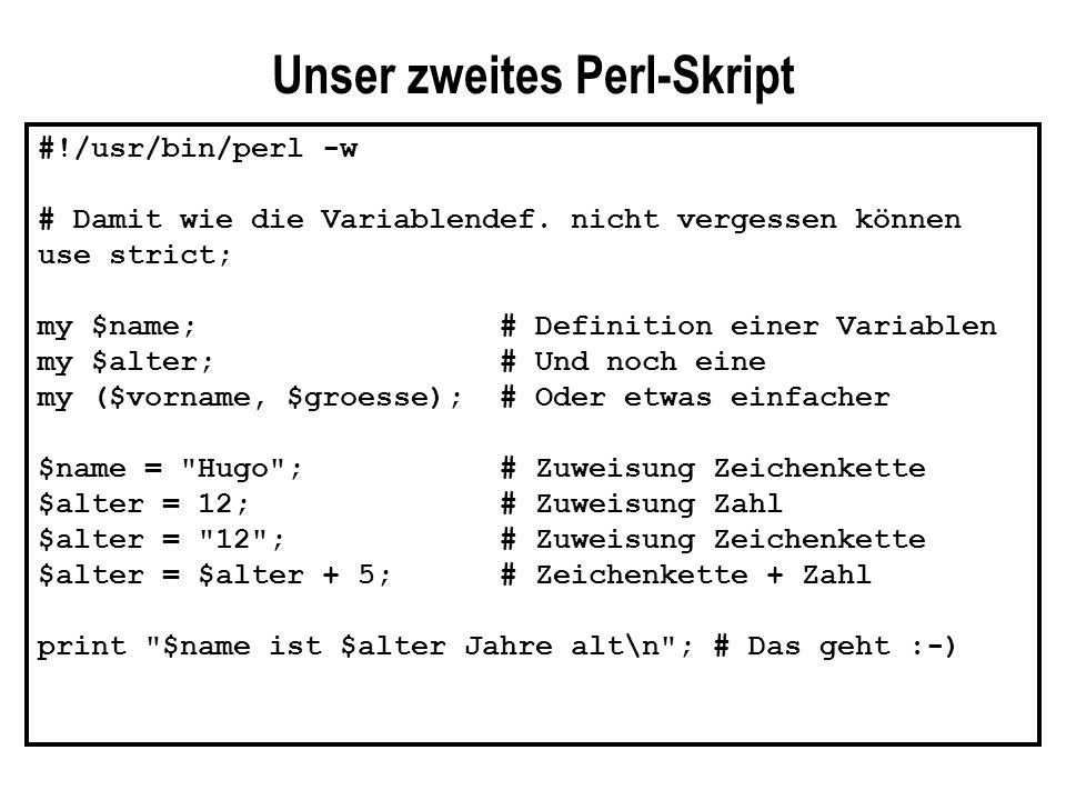 Unser zweites Perl-Skript