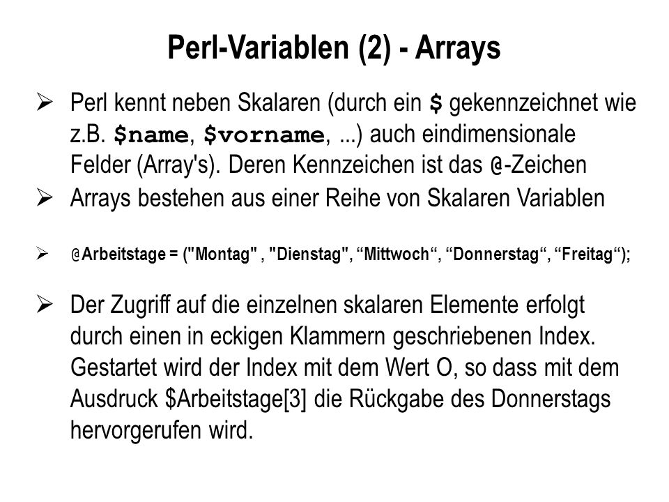 Perl-Variablen (2) - Arrays