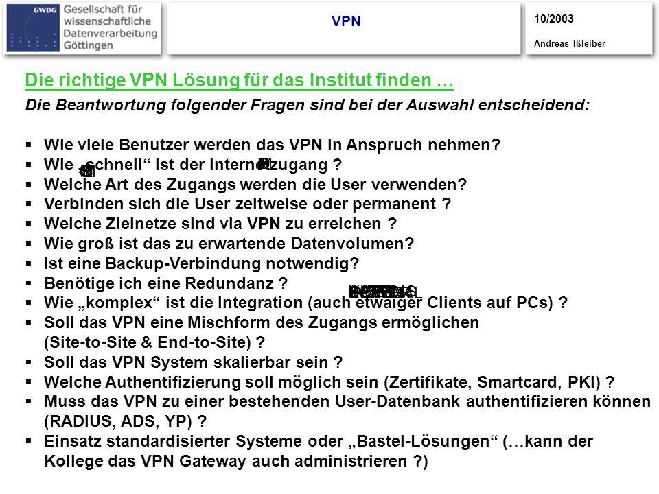 Die richtige VPN Lösung für das Institut finden …