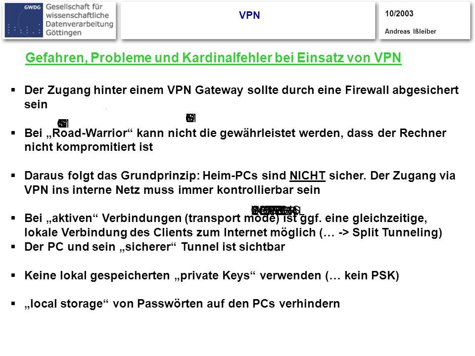 Gefahren, Probleme und Kardinalfehler bei Einsatz von VPN