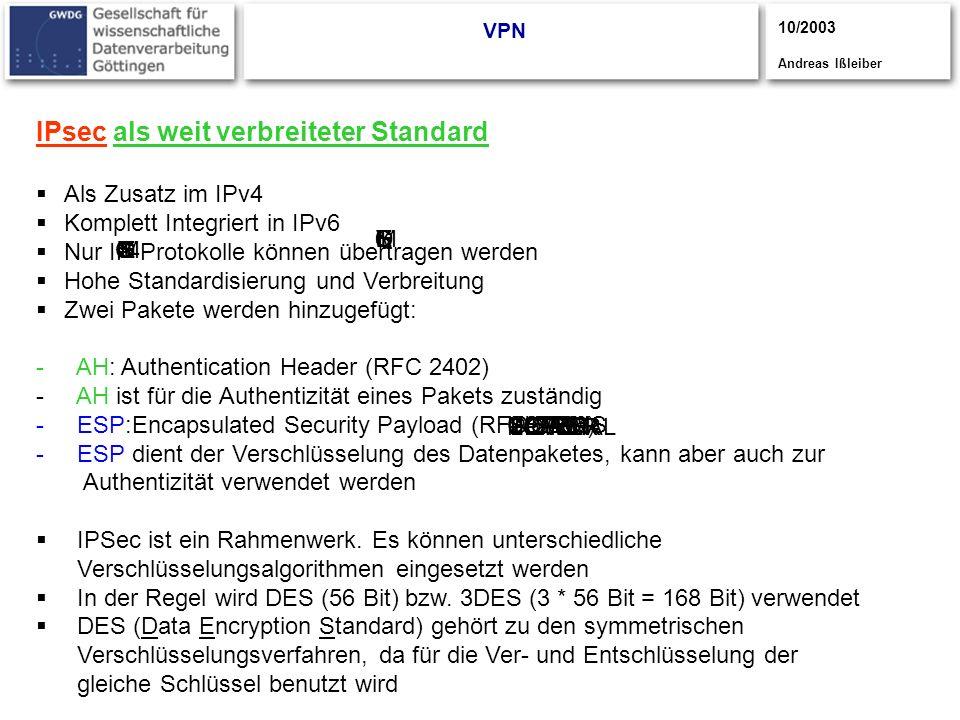 IPsec als weit verbreiteter Standard