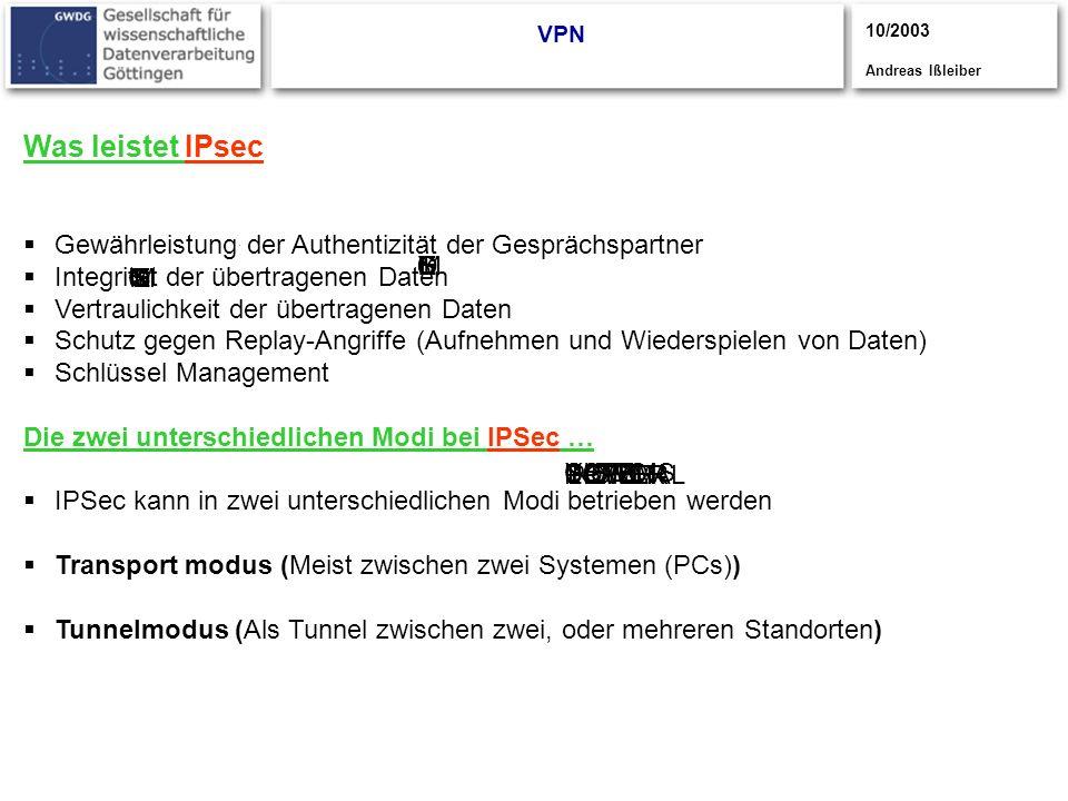 VPN 10/2003. Andreas Ißleiber. Was leistet IPsec. Gewährleistung der Authentizität der Gesprächspartner.