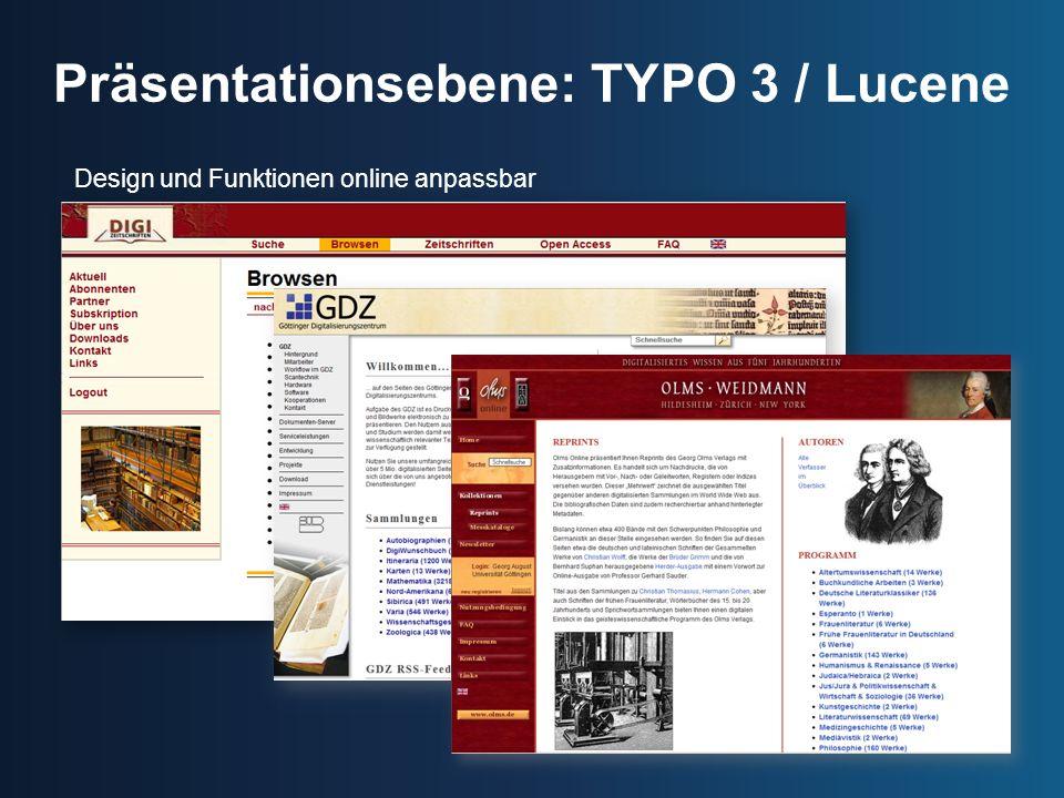 Präsentationsebene: TYPO 3 / Lucene
