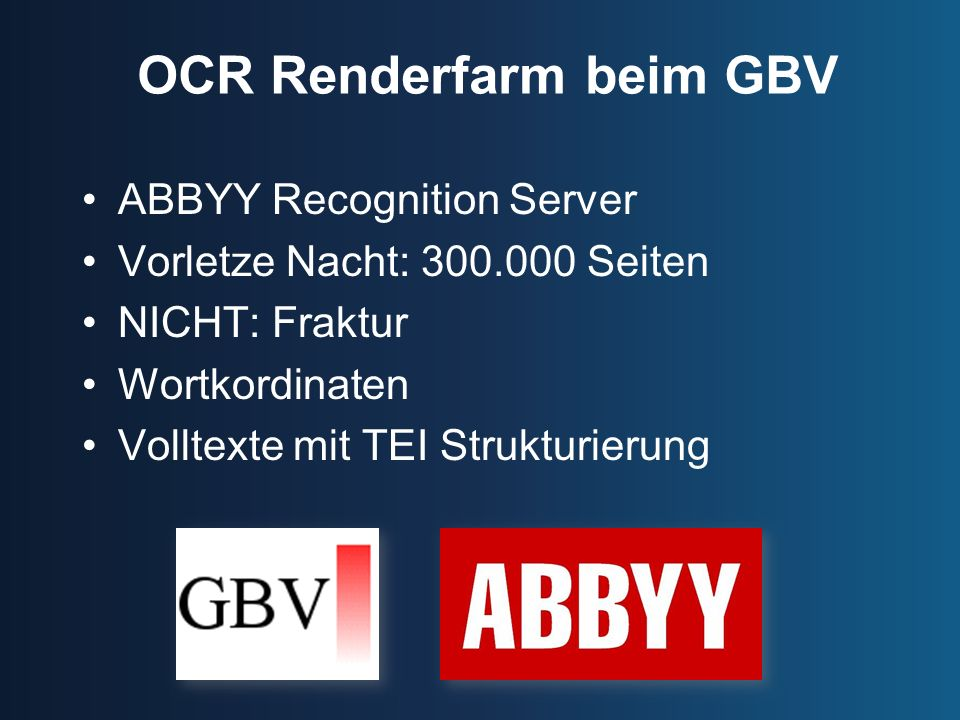 OCR Renderfarm beim GBV
