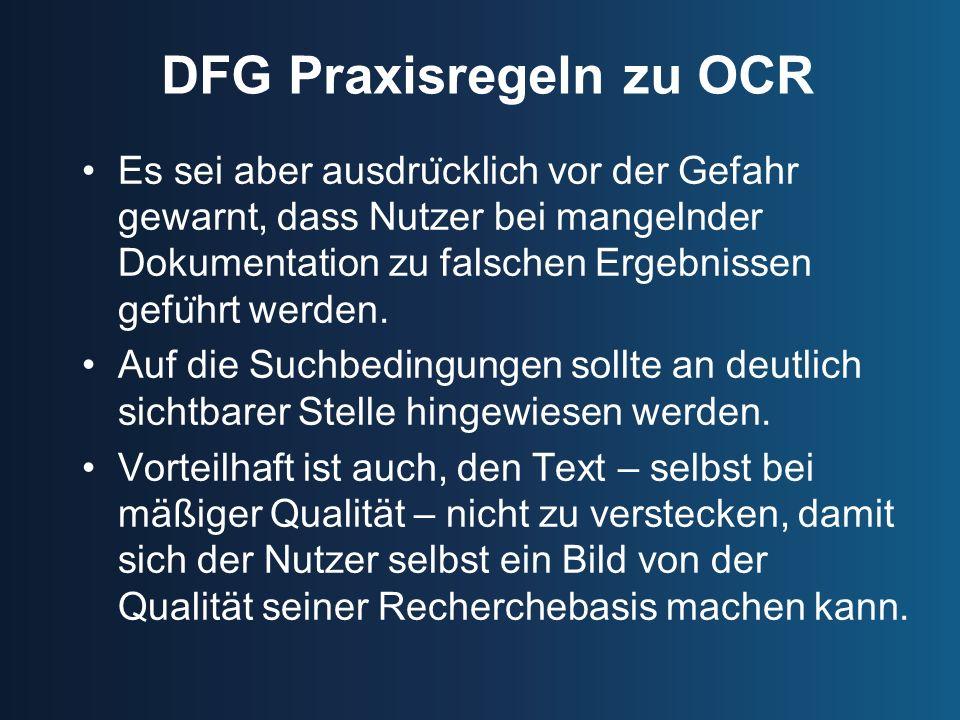 DFG Praxisregeln zu OCR
