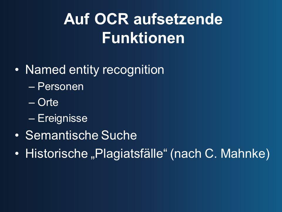 Auf OCR aufsetzende Funktionen
