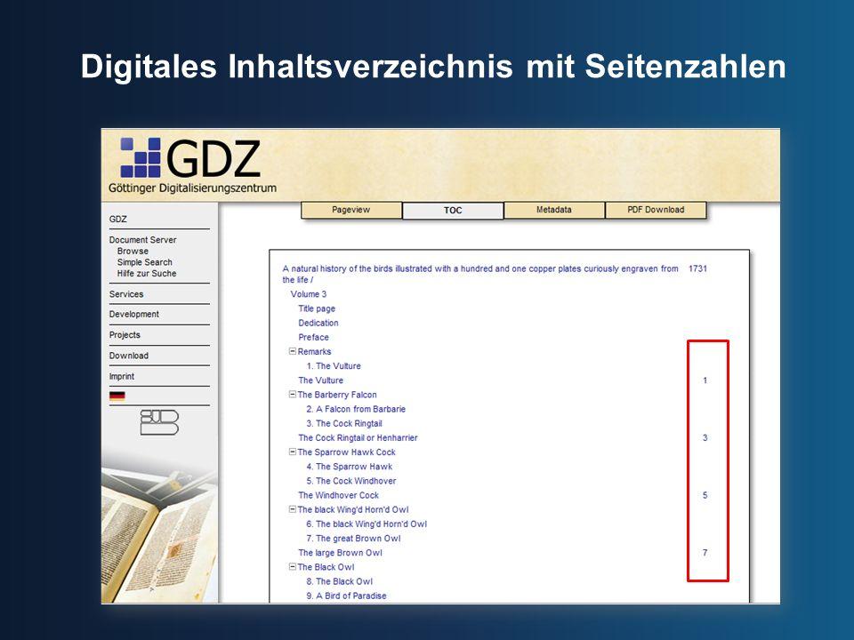 Digitales Inhaltsverzeichnis mit Seitenzahlen