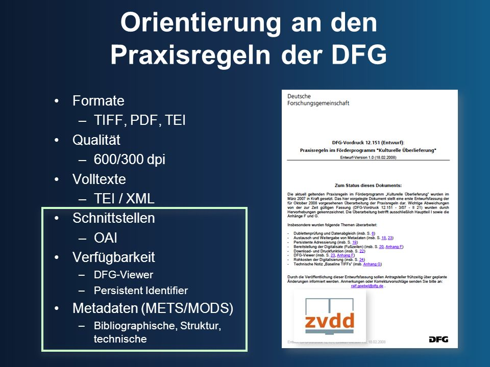 Orientierung an den Praxisregeln der DFG