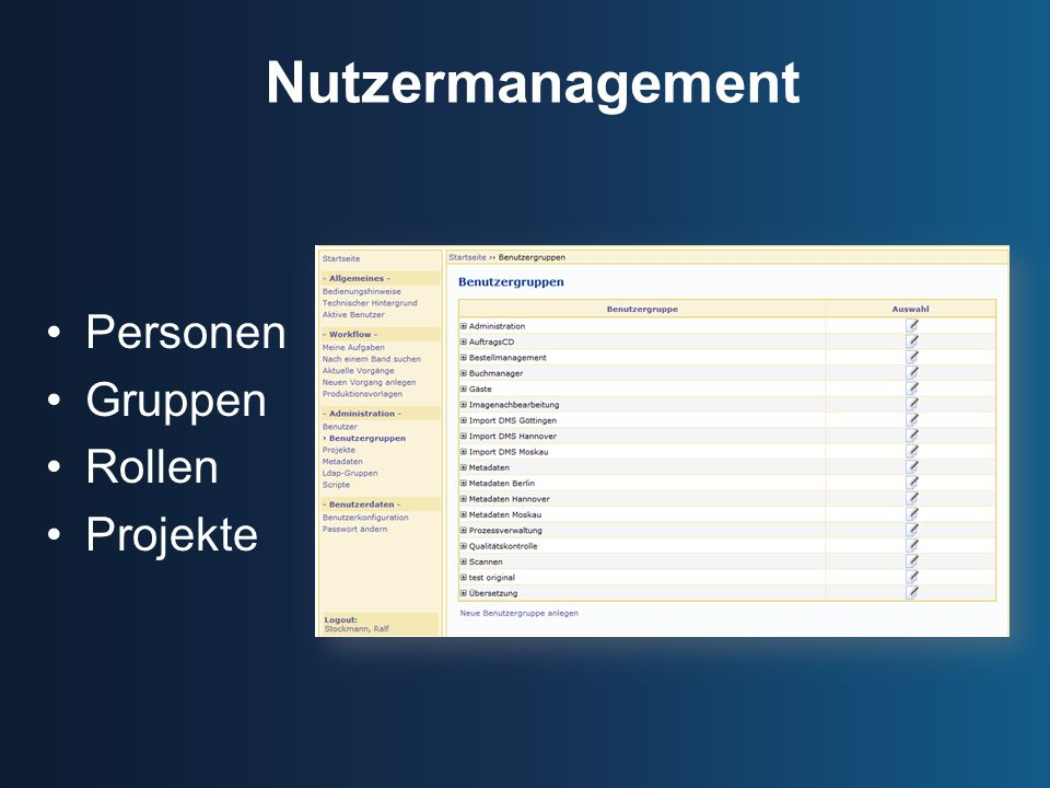 Nutzermanagement Personen Gruppen Rollen Projekte