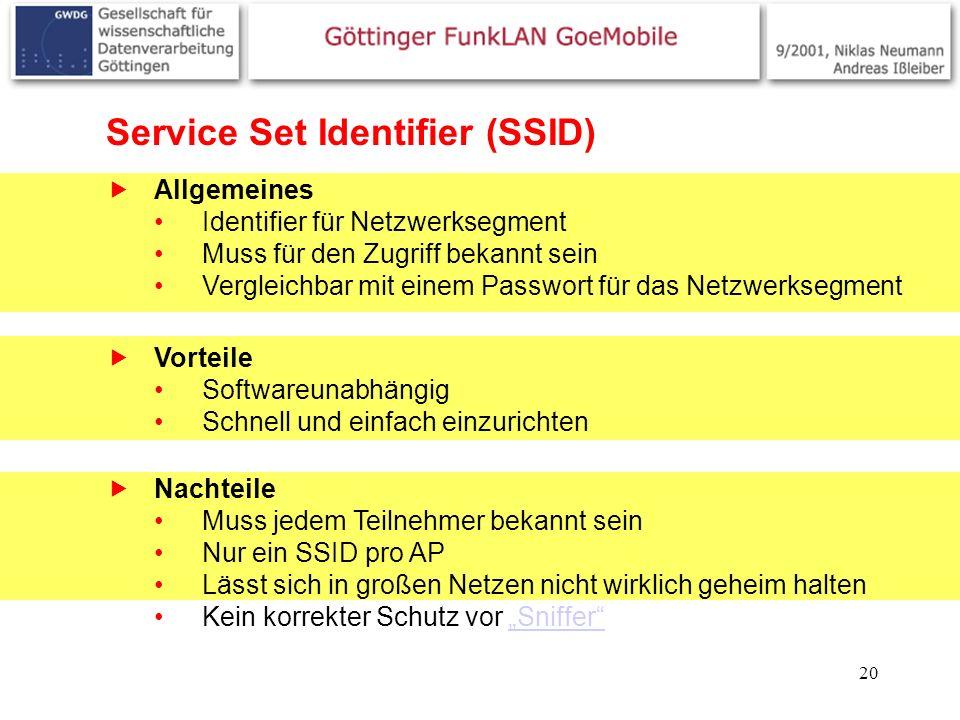 Service Set Identifier (SSID)
