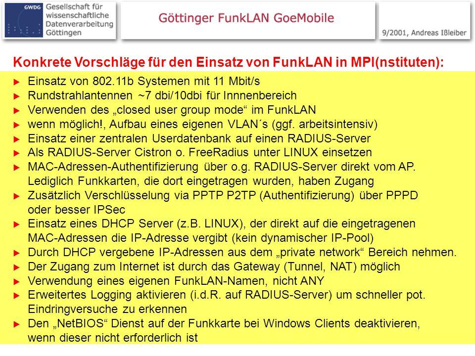 Konkrete Vorschläge für den Einsatz von FunkLAN in MPI(nstituten):