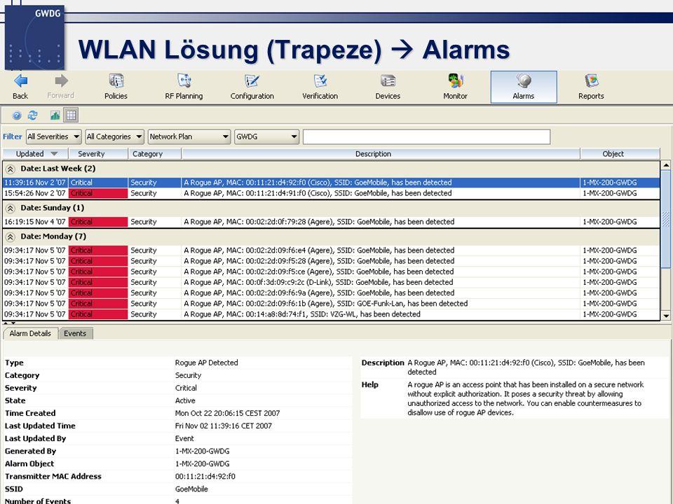 WLAN Lösung (Trapeze)  Alarms