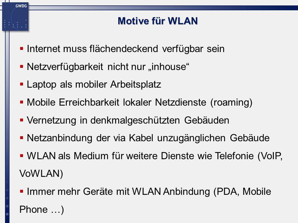 """Motive für WLANInternet muss flächendeckend verfügbar sein. Netzverfügbarkeit nicht nur """"inhouse Laptop als mobiler Arbeitsplatz."""