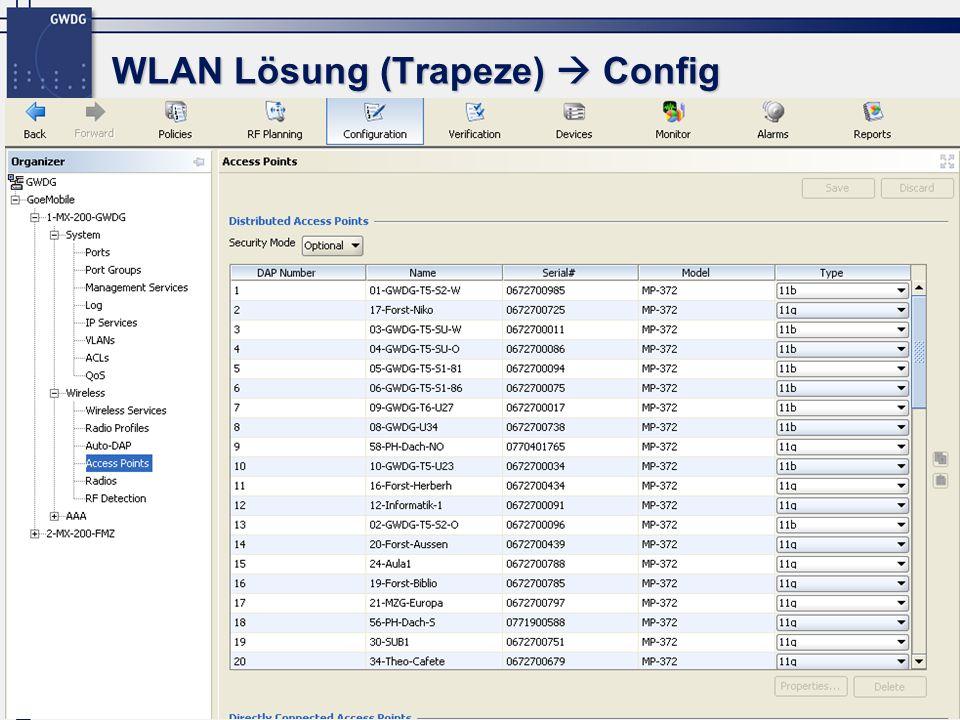 WLAN Lösung (Trapeze)  Config