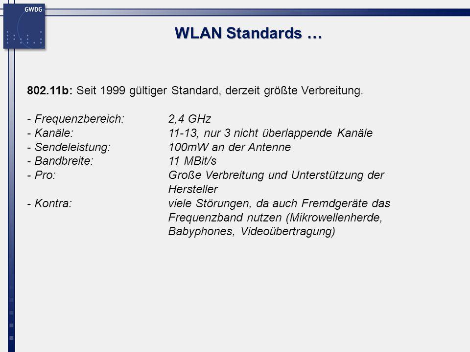 WLAN Standards …802.11b: Seit 1999 gültiger Standard, derzeit größte Verbreitung. - Frequenzbereich: 2,4 GHz.