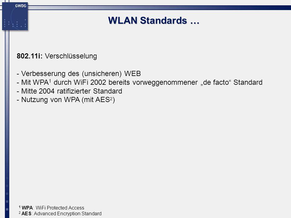WLAN Standards … 802.11i: Verschlüsselung