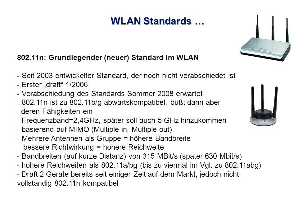 WLAN Standards … 802.11n: Grundlegender (neuer) Standard im WLAN