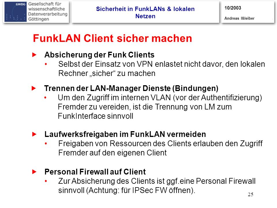 Sicherheit in FunkLANs & lokalen Netzen