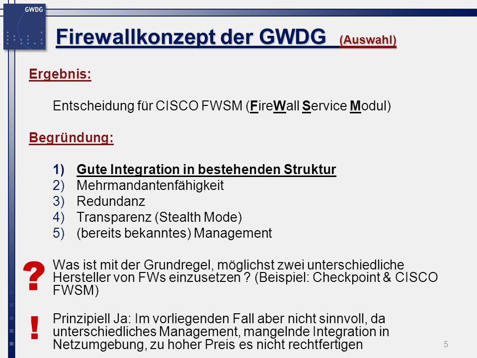 Firewallkonzept der GWDG (Auswahl)