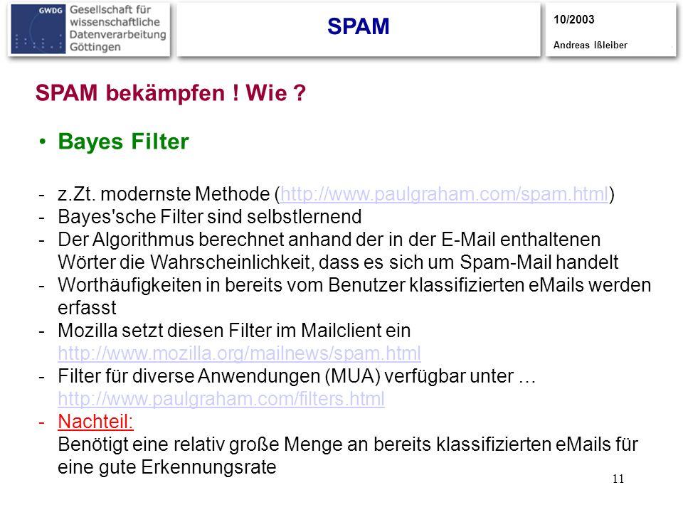 SPAM SPAM bekämpfen ! Wie Bayes Filter