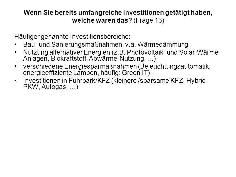 Wenn Sie bereits umfangreiche Investitionen getätigt haben, welche waren das (Frage 13)