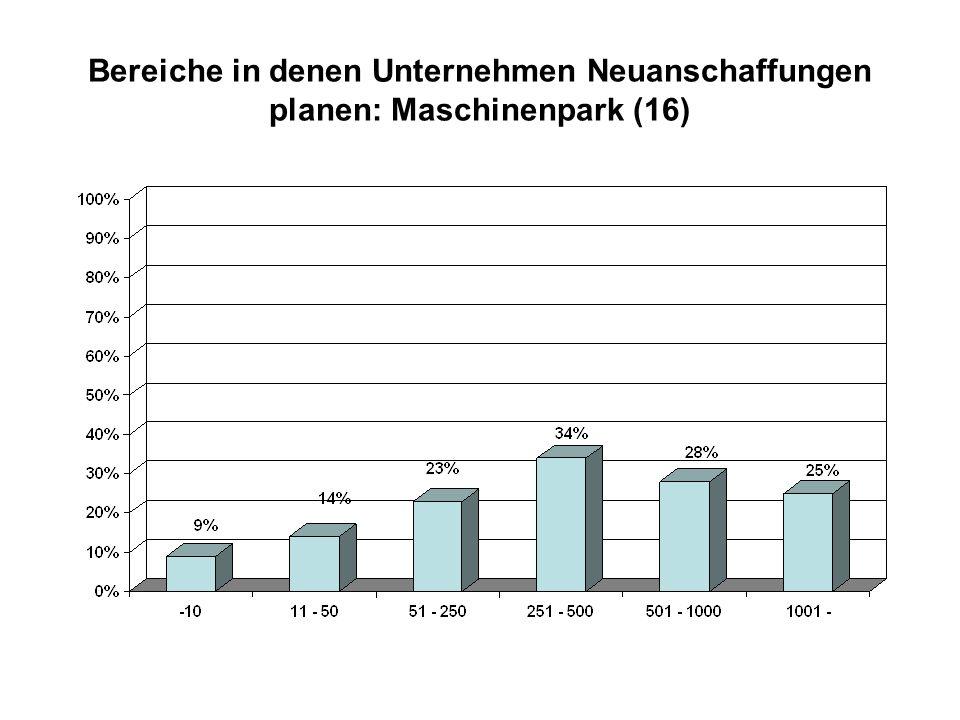 Bereiche in denen Unternehmen Neuanschaffungen planen: Maschinenpark (16)