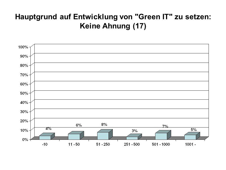 Hauptgrund auf Entwicklung von Green IT zu setzen: Keine Ahnung (17)