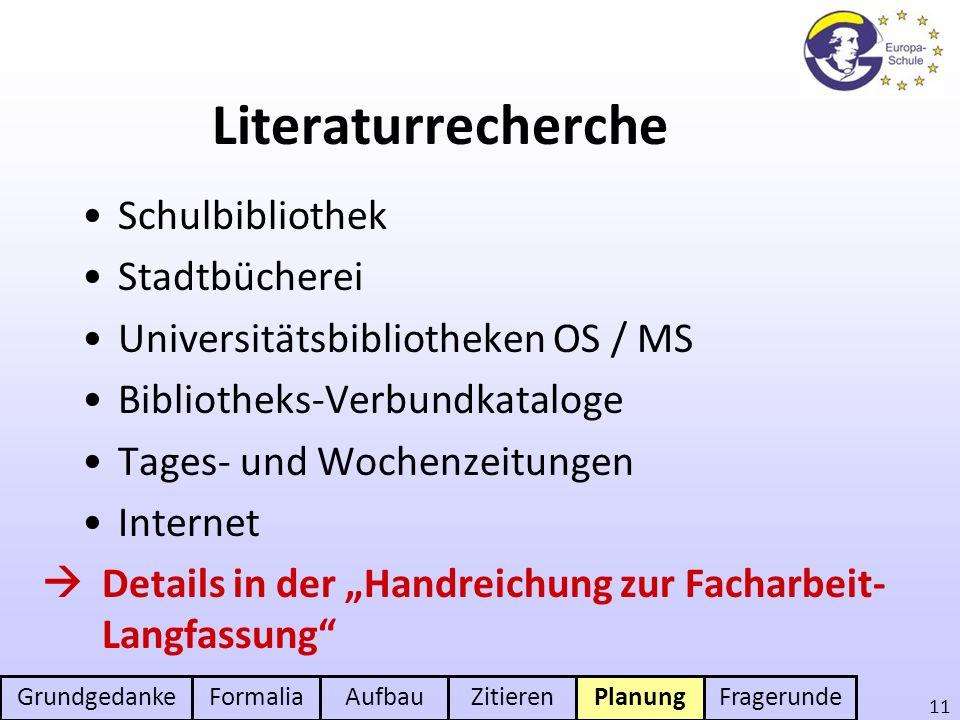 Literaturrecherche Schulbibliothek Stadtbücherei