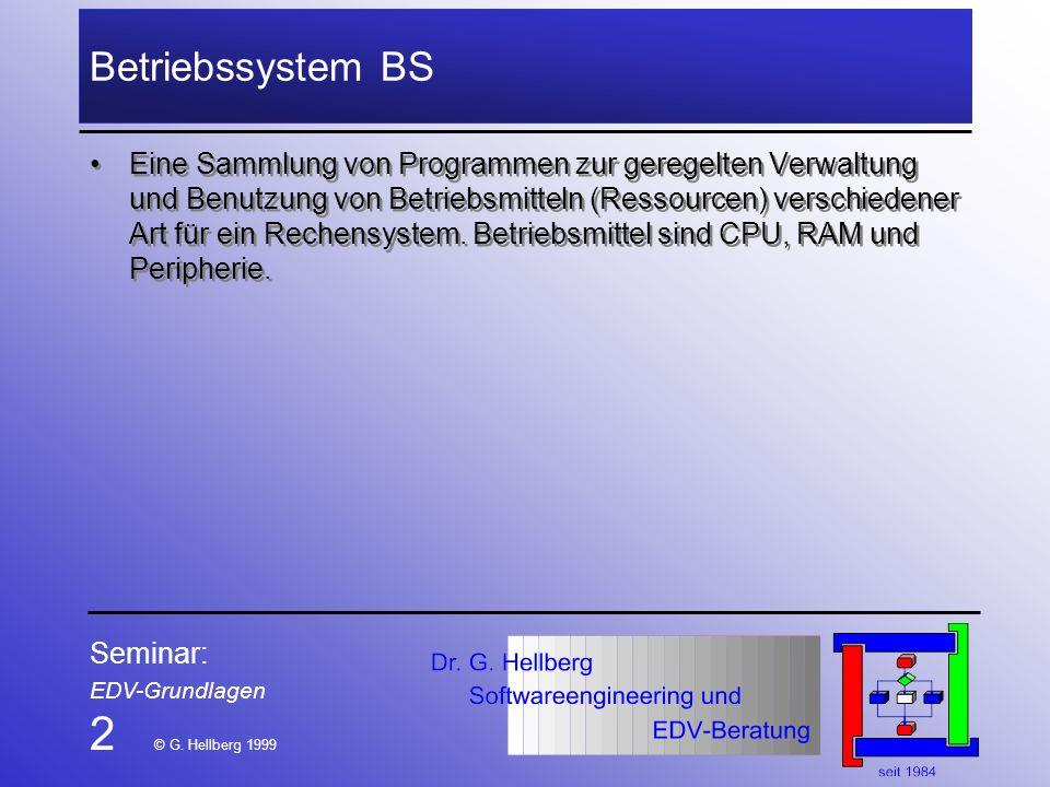 2 © G. Hellberg 1999 Betriebssystem BS
