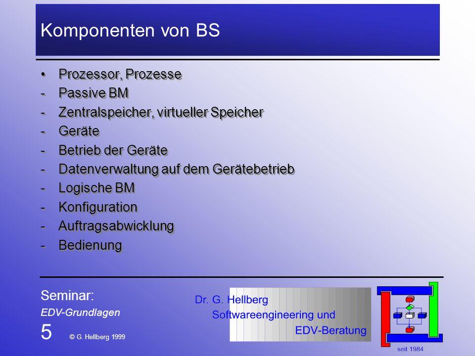 5 © G. Hellberg 1999 Komponenten von BS Prozessor, Prozesse Passive BM