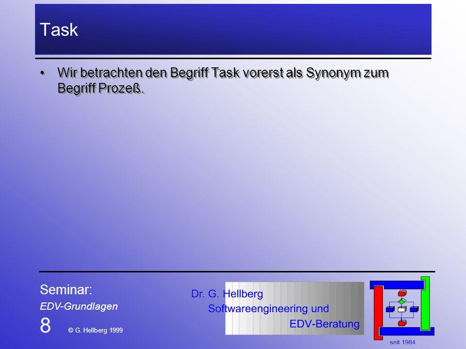 TaskWir betrachten den Begriff Task vorerst als Synonym zum Begriff Prozeß. Seminar: EDV-Grundlagen.